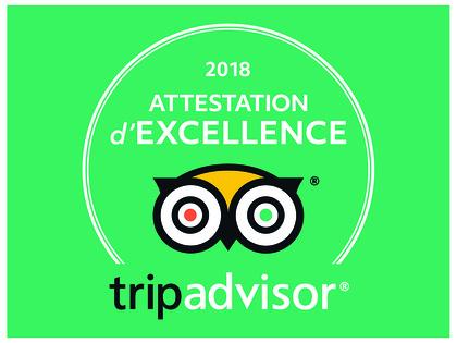 Attestation d''excellence Tripadvisor 2018