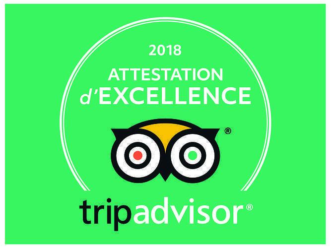 Attestation d''excellence Tripadvisor 2018 0